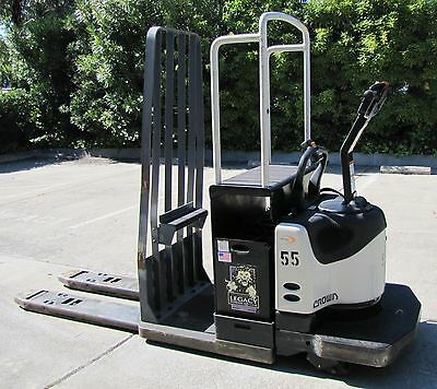 Crown PE 4000-60 Electric Ride On Rider Pallet Jack 6000 lbs Cap 24V