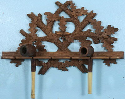 Antique Swiss Black Forest Wood Hunt Carving PIPE HOLDER Acorn Oak Leaves Brienz