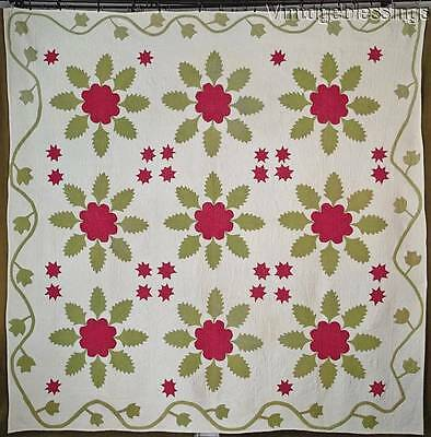 Pre Civil War 1850s ANTIQUE Red Green Applique QUILT Beautiful Quilting