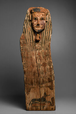 Ancient Egyptian Wooden Sarcophagus Panel with Mask Late period, ca. 700-30 B.C.