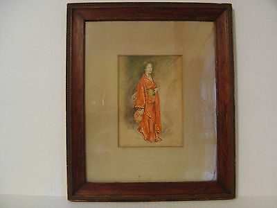 Vintage Framed Picture Of Woman In Red Kimono Dated 1904