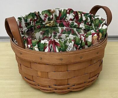 Longaberger Button Basket with Twelve Days of Christmas Liner 1989