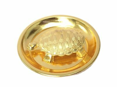 Metal Turtle on Metal Plate Feng Shui Vastu Tortoise Puja Yantra Good Luck Gold