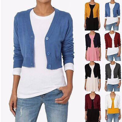 TheMogan Women's 3/4 Sleeve Button Up V-Neck Cropped Knit Sweater Cardigan