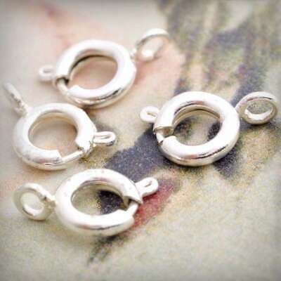 65pcs Silver Spring Ring Bolt Clasps For Jewellery Making Findings 10x6x3mm