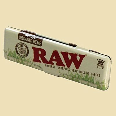 RAW Organic Hemp Rolling Papers King Size Slim Metal Tin Storage Case Smoking UK