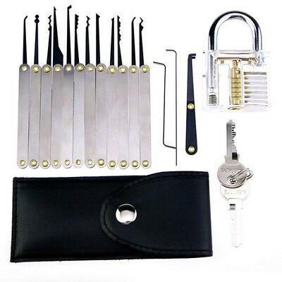 12pcs Key Pick Training Set Clear Practice Padlock Tools Locks Kit Key Guides
