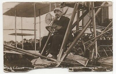 Aviation S F Cody In His Aircraft Old Real Photo Postcard