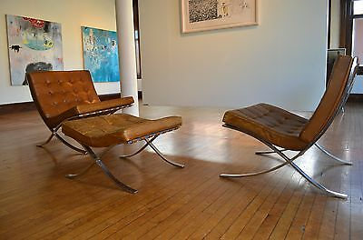 1967 Authentic Vintage Knoll Barcelona Chairs (2) & Ottoman Set
