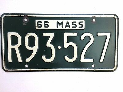Massachusetts 1966 Old License Plate Garage Man Cave Old Car Tag Rustic Decor