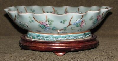 Large Antique Chinese Decorative Bowl Cricket Moth Flowers Signed w/ Stand
