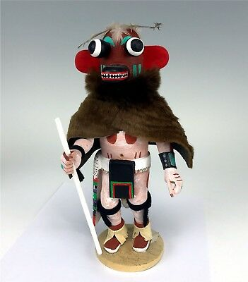 Signed Native American Hopi Carved Wood Boos or Ogre Kachina Doll Wallace Te-W