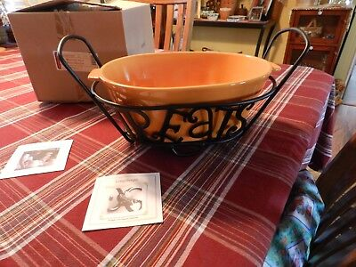 Longaberger Retired Halloween Treats Bowl & Wrought Iron Stand - New in Box