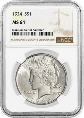 1924 $1 Silver Peace Dollar NGC MS64
