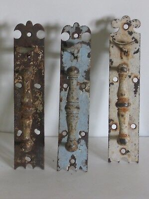3 Early 1900s Antique Door Handle Plates Thumb Latch Match Pair House Hardware