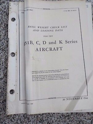 Technical Orders Basic Weight Check List Loading Data P-51 B C D Series Aircraft