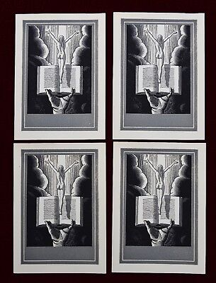 Vintage Rockwell Kent Bookplates Set Of 4 ~ Woman Rising From Book