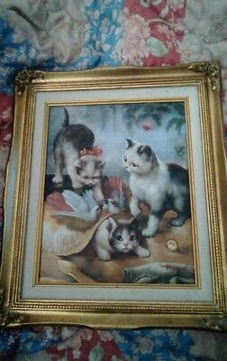 Vintage Kitten Cat Painting Signed and Framed. Free Ship