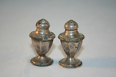 "Vintage 2"" Tall Salt Pepper Shakers 20 G Sterling Silver NS Co"