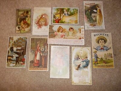 lot of 10 victorian trade cards - lawn mower, organ, soap, insurance,...