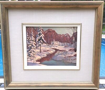 Canadian Muskoka Winter Landscape Oil Painting By Listed Artist Robert Everett