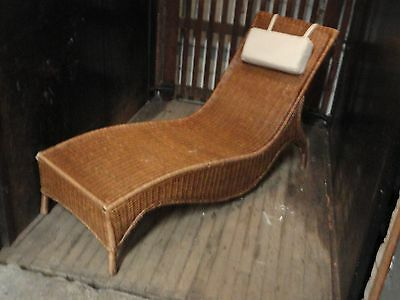 Vintage Mid Century Bamboo Rattan Wicker Lounge Chaise Chair Modern Hollywood