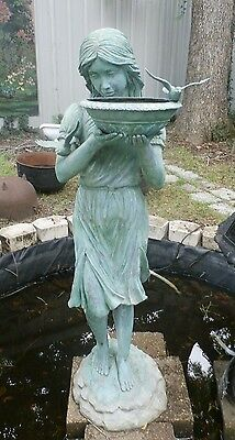 "Cast Bronze Fountain Bird Bath Lady 66"" Tall"