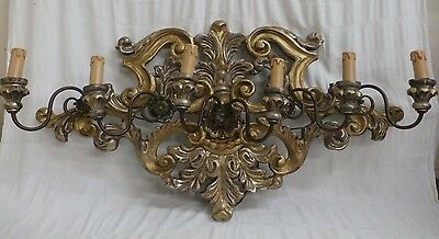 """Antique Wall 6 Light Sconce Wood Carved Gold Silver Leaf Italian W 36"""" xH19"""""""