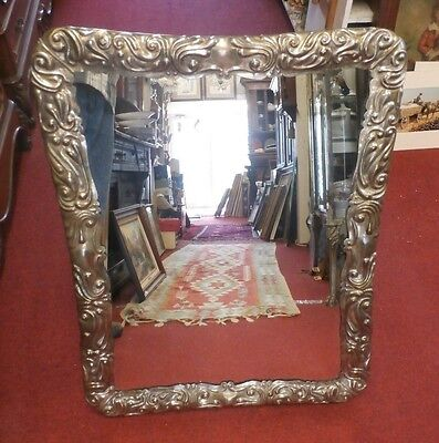 Large Antique Mirror w/ Silverplate Frame - Unique Easel Back - Poland