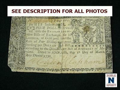 NobleSpirit NO RESERVE {3970} Desirable $4 Colonial Currency 1770 Maryland VF