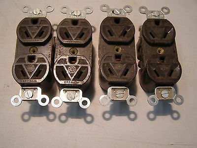 4 Vintage Never Used Odd Receptacles 15 A. 277 Volt AC Hubbell Diagonal Plug