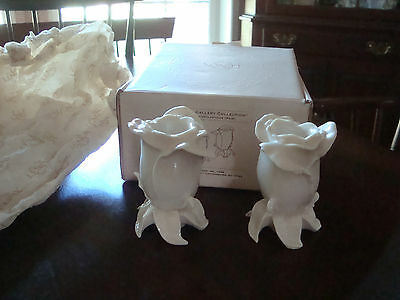 New Lenox Rose Shape Candle Stick Holders