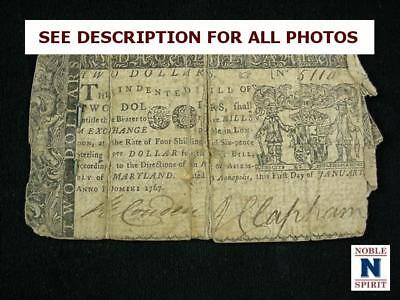 NobleSpirit NO RESERVE {3970} Desirable $2 Colonial Currency 1767 Maryland F/VF