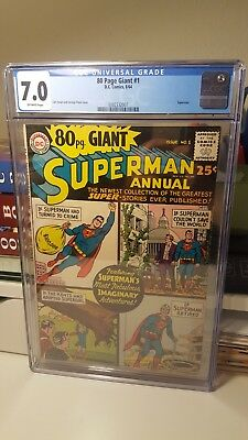 80 Page Giant #1.      (Cgc 7.0. Fn/vf)      ~Superman~     First Print.    1964