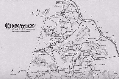 Conway Burkville MA 1871 Map with Homeowners Names Shown