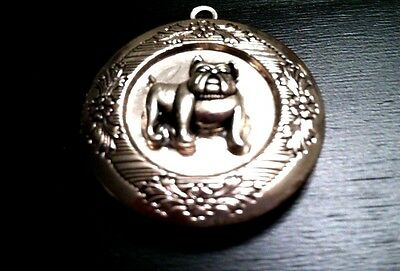 BULLDOG PHOTO LOCKET Pendant w Sterling Silver 925 Chain Necklace dog pet animal