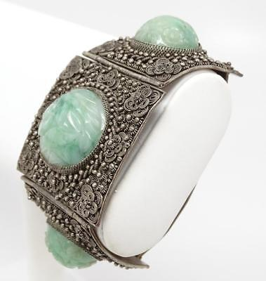 Antique Chinese Filigree Silver & Fine Carved Jade Jadeite Bracelet