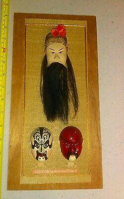 Vintage Chinese Opera Make Up Faces With Hair Unique Wall Hanging 3D Rare