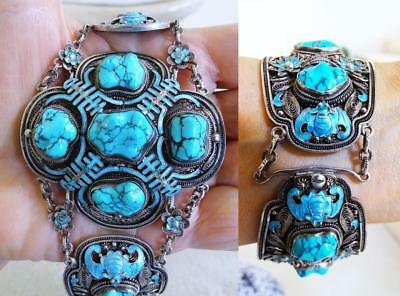 Very Fine Antique Chinese Silver Turquoise Enamel Bats WIDE Bracelet