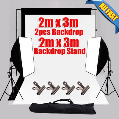 Photography Studio Softbox Lighting Video BLACK WHITE Backdrop Light Stand Kit