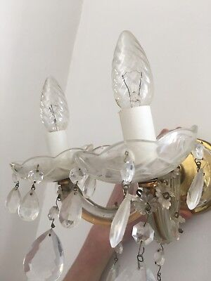 Vintage Chandelier Wall Light - Brass Fixture Glass Covered Double Light