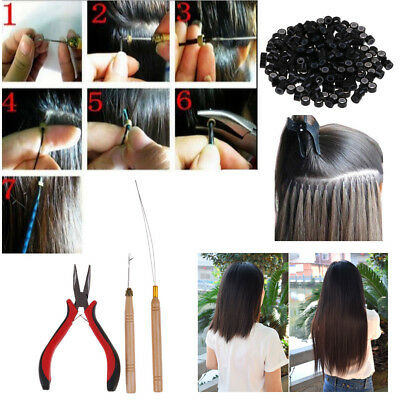 Feather Hair Extension Hook Pliers Tool KIT w/200 Micro Rings Silicone Beads Hot