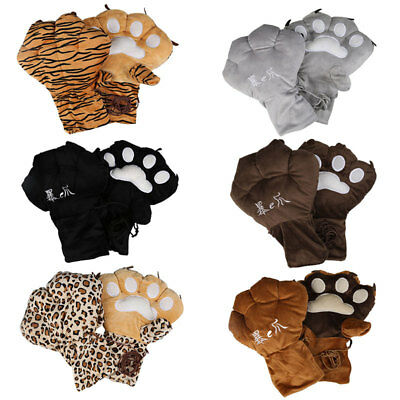 1Pair Anime Cosplay Party Bear Tiger Leopard Plush Paw Claw Warm Gloves Oversize