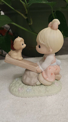"""Precious Moments """"you Lift My Spirits"""" Cc550002 Girl & Puppy On Teeter-Tooter"""