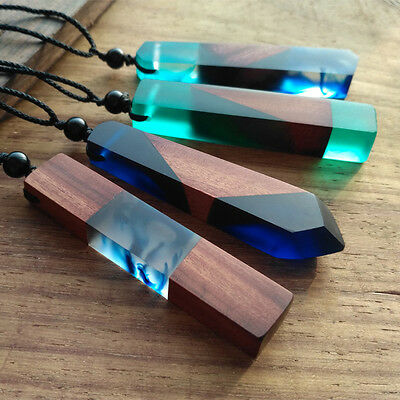 New 2017 Handmade Resin Wood Pendant Necklace Wooden Jewelry For Men Women