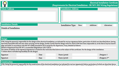 EIC BS7671 Electrical Test Certificate