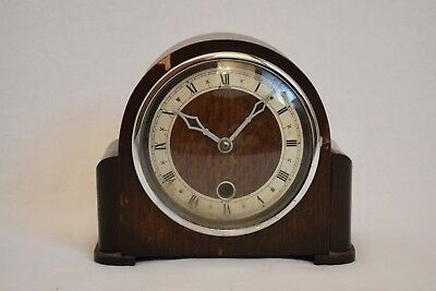 VINTAGE 1940s LOVELY SMALL BENTIMA DAVALL ART DECO STYLE MECHANICAL MANTEL CLOCK