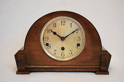 VINTAGE 1930s CLARION CLOCKS OAK CASED WESTMINSTER CHIME MANTEL CLOCK