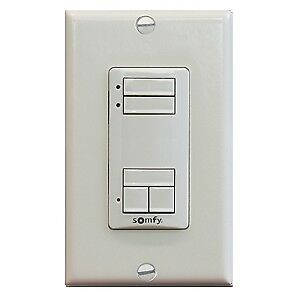 Somfy DecoFlex WireFree RTS Wall Switch, 2 Channel, White(# 1811068)