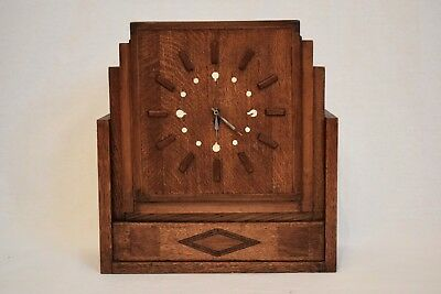 STUNNING VINTAGE 1930s VERY ART DECO INLAID OAK MANTEL CLOCK WITH PROVENANCE